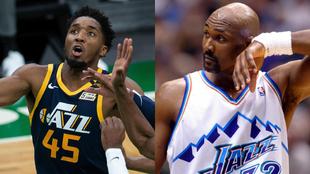 Montaje con Donovan Mitchell y Karl Malone, jugadores de los Utah Jazz