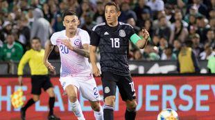 Guardado, en un partido con México