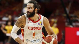 Ricky Rubio con la selección española durante el Mundial de China,...