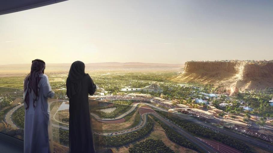 Recreación del futuro circuito de Qiddiyah en Arabia Saudi.
