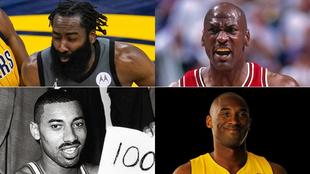 Montaje con las caras de James Harden, Michael Jordan, Wilt...