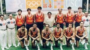 La seleccion española de baloncesto que fue Plata en Los Angeles 84....