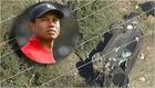Tiger Woods y el estado en el que quedó el coche tras el accidente.