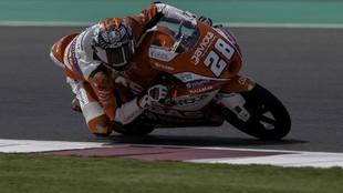 Izan Guevara, campeón del mundo júnior de Moto3, en los test de...