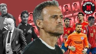 Montaje MARCA con varios seleccionadores y futbolistas de 'La...