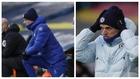 Tuchel, entrenador del Chelsea, con un abrigo azul y con una blanco en...