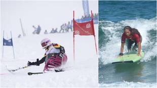 Audrey Pascual compite en esquí y en surf.