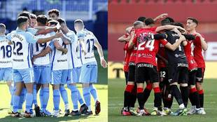 Los jugadores de Málaga y Mallorca celebrando sendos goles