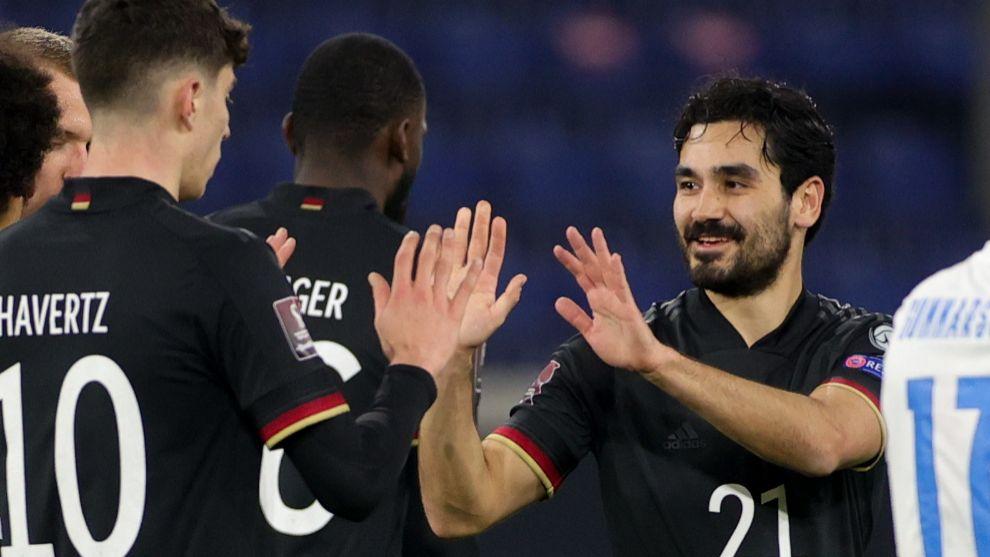 Havertz y Gündogan celebran uno de los goles.