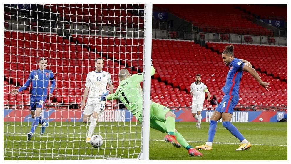 Calvert-Lewin marca a placer el 4-0 de Inglaterra.