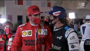 Alonso y Sainz, en la zona mixta tras la calificación