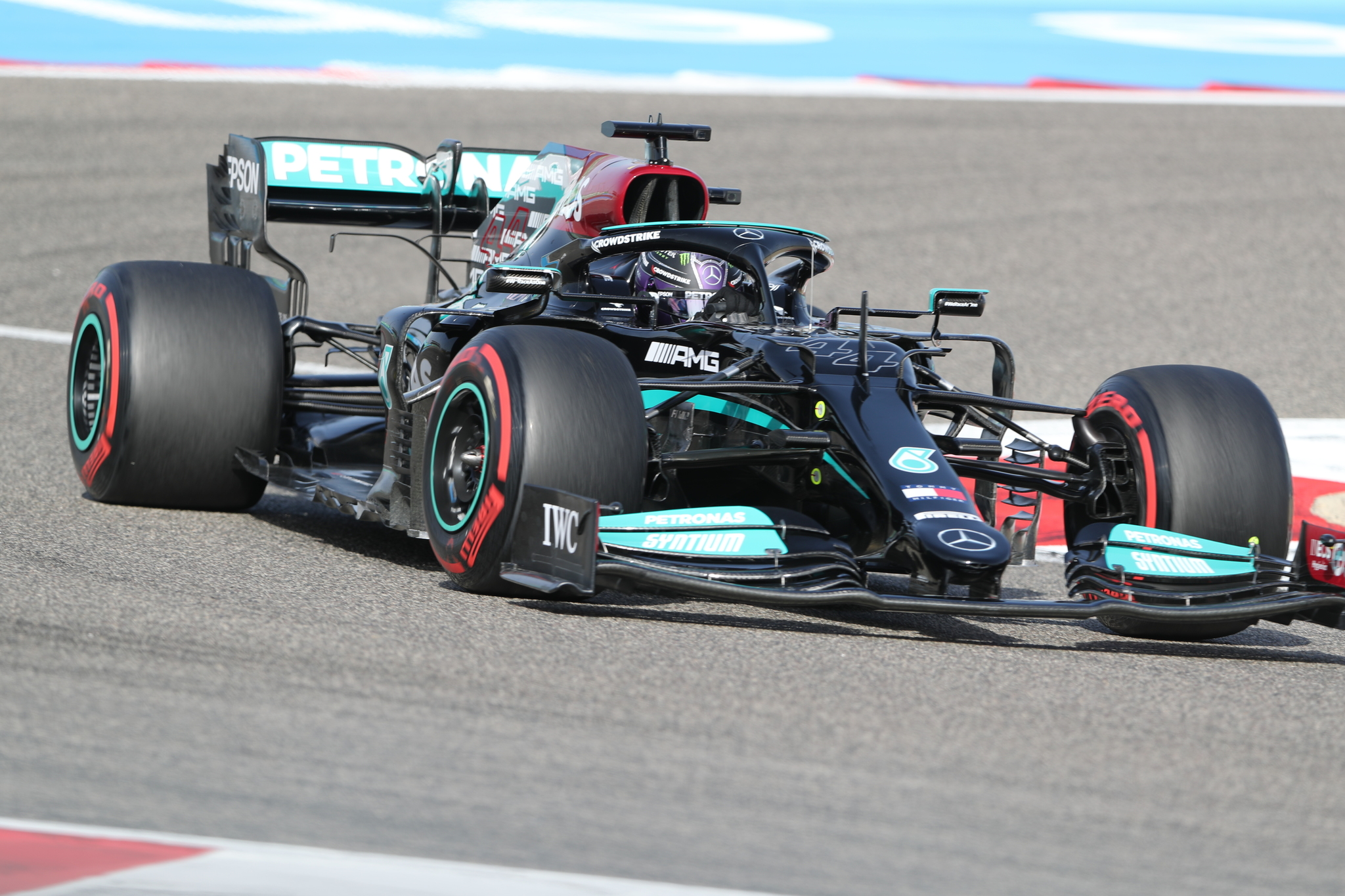 Mercedes driver Lewis lt;HIT gt;Hamilton lt;/HIT gt; of Britain steers his car during the third free practice at the Formula One Bahrain International Circuit in Sakhir, Bahrain, Saturday, March 27, 2021. The Bahrain Formula One Grand Prix will take place on Sunday. (AP Photo/Kamran Jebreili)