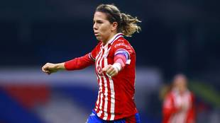 Alicia Cervantes celebra uno de sus dos goles ante el América