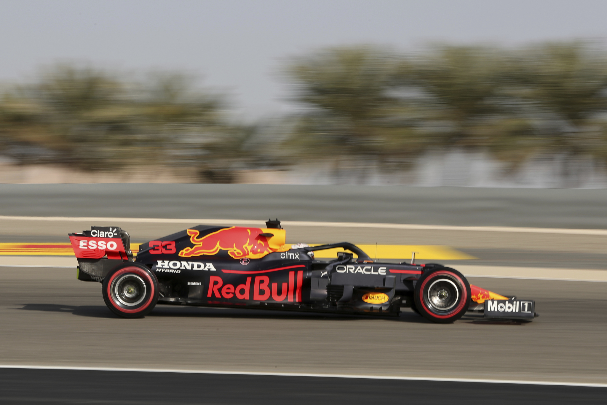 Red Bull driver Max lt;HIT gt;Verstappen lt;/HIT gt; of the Netherlands steers his car during the third free practice at the Formula One Bahrain International Circuit in Sakhir, Bahrain, Saturday, March 27, 2021. The Bahrain Formula One Grand Prix will take place on Sunday. (AP Photo/Kamran Jebreili)