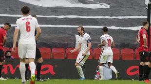 Kane celebra su gol a Albania.