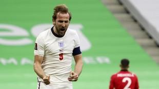 Kane celebra uno de los goles que ha marcado con Inglaterra.