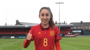 Olga Carmona tras un partido en categorías inferiores de la...