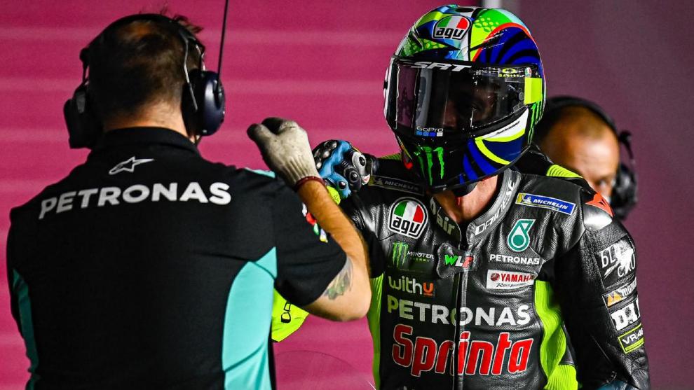 Rossi, en el circuito de Losail.