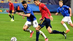 Jorge Cuenca durante el partido ante Italia.