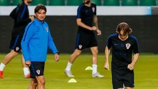 Dalic y Modric, en un entrenamiento de Croacia