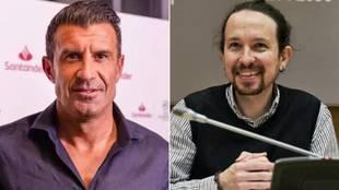 El exfutbolista Luis Figo y Pablo Iglesias, candidato de Unidas...