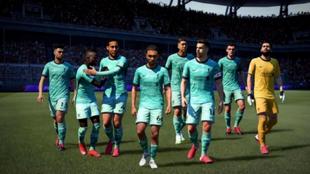 La plantilla del Liverpool celebra un gol