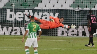Thibaut Courtois, durante el partido contra el Betis en Sevilla de...