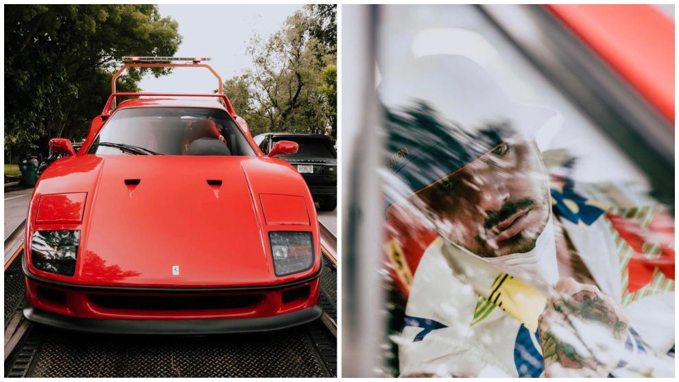 J Balvin, con su última adquisición, un Ferrari F40 de color rojo.