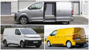 Las furgonetas eléctricas Peugeot e-Expert (arriba), Citroën...
