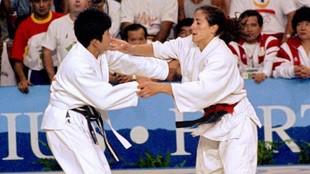 Almudena Muñoz, durante su combate con Mizoguchi