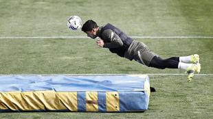 Luis Suárez en un entrenamiento con el Atlético.