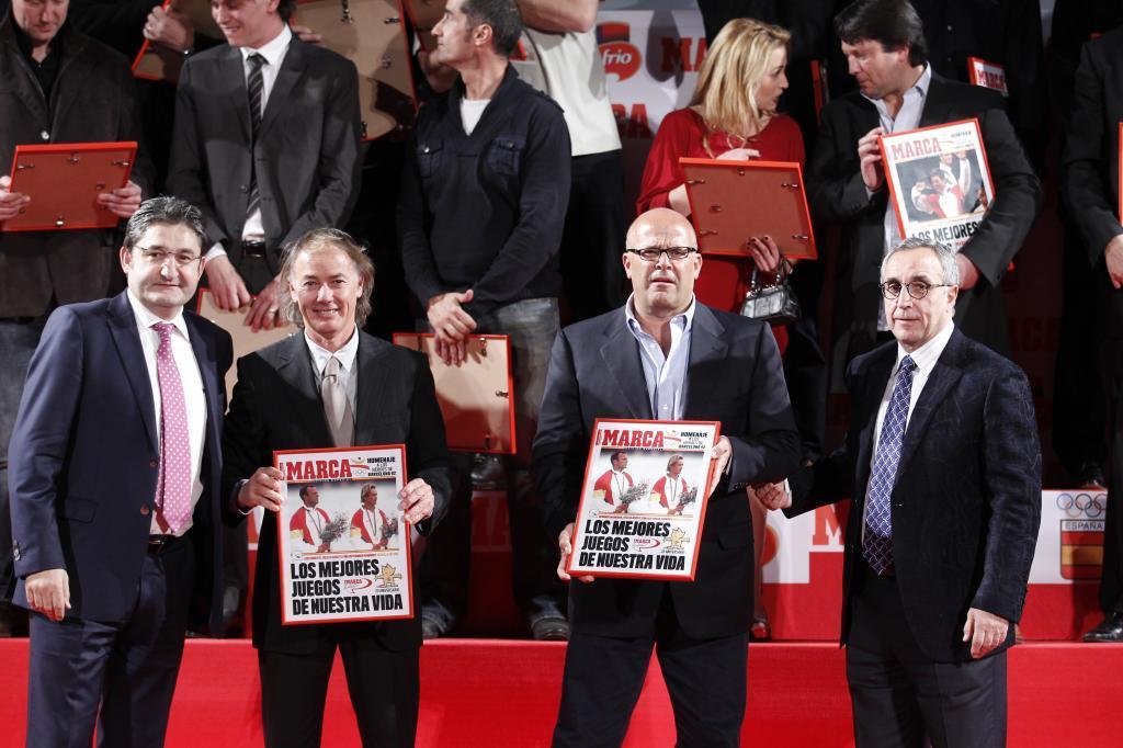 Doreste y Manrique, con Óscar Campillo y Alejandro Blanco en un homenaje de MARCA