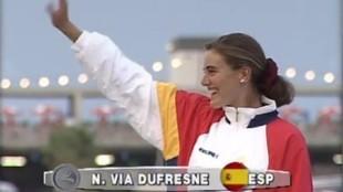 Natalia Via Dufresne, en el podio