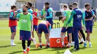 La plantilla del Barcelona, en un entrenamiento.