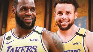 Montaje con LeBron y Curry con la camiseta de los Lakers