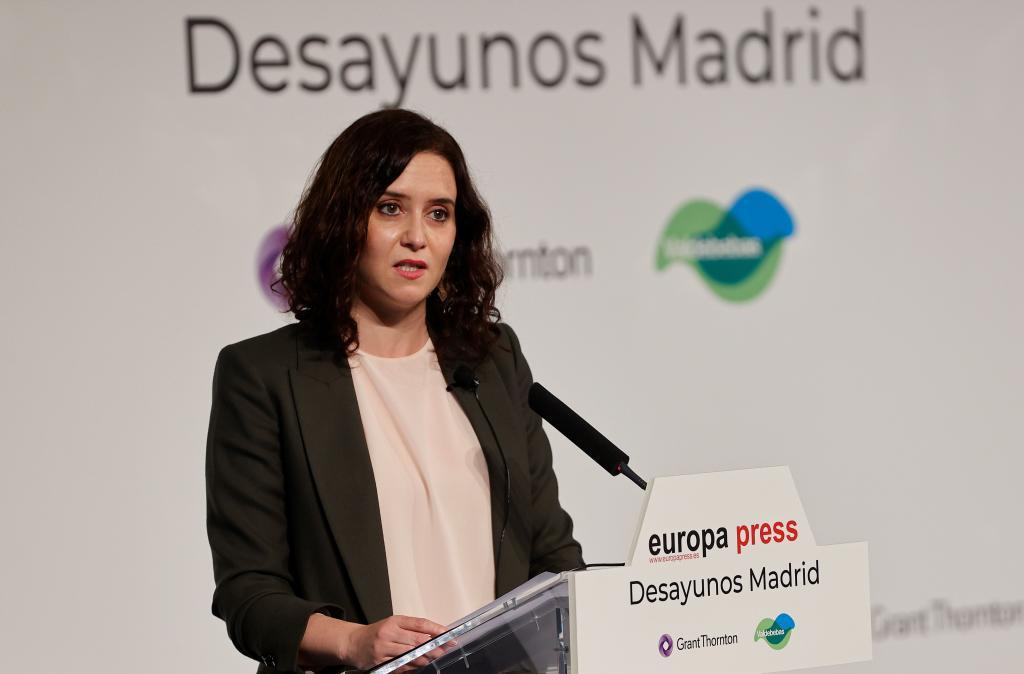 Isabel Díaz Ayuso, durante el desayuno informativo con Europa Press /