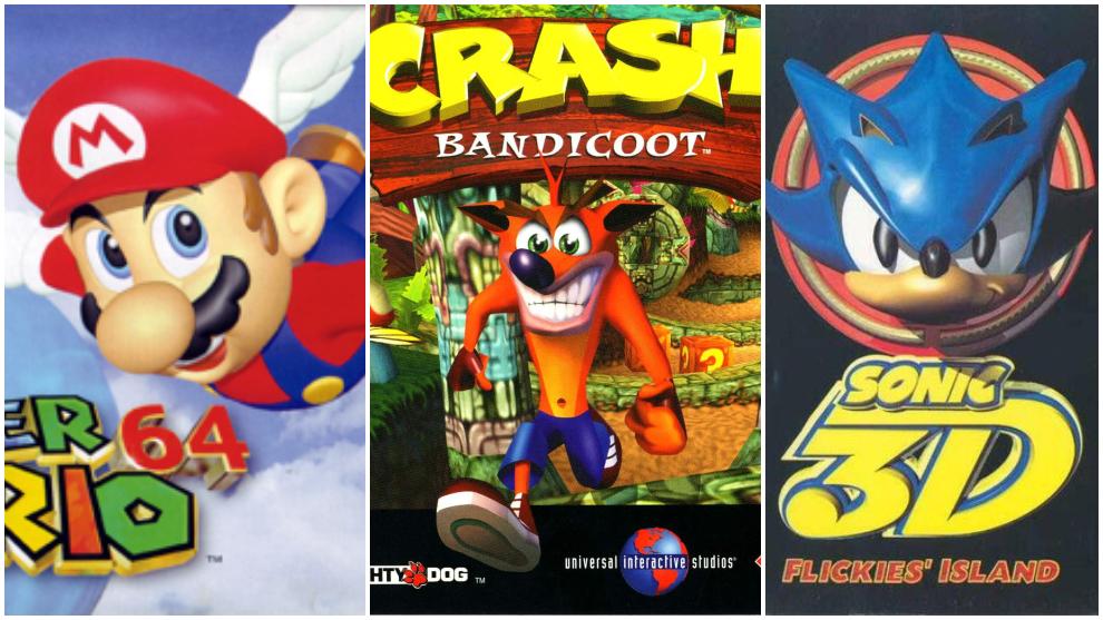 Super Mario 64, Sonic 3D y Crash Bandicoot