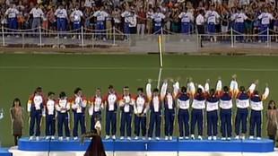 Entrega de medallas a la selección española, primer equipo español...