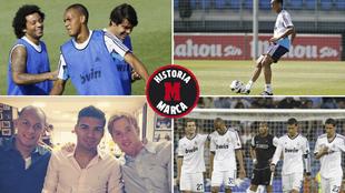 Fabinho, en distintos momentos de su etapa en el Madrid