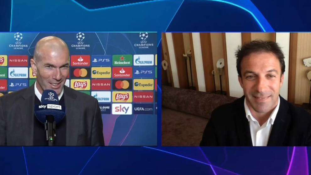 Zidane, en Sky Italia con Del Piero.