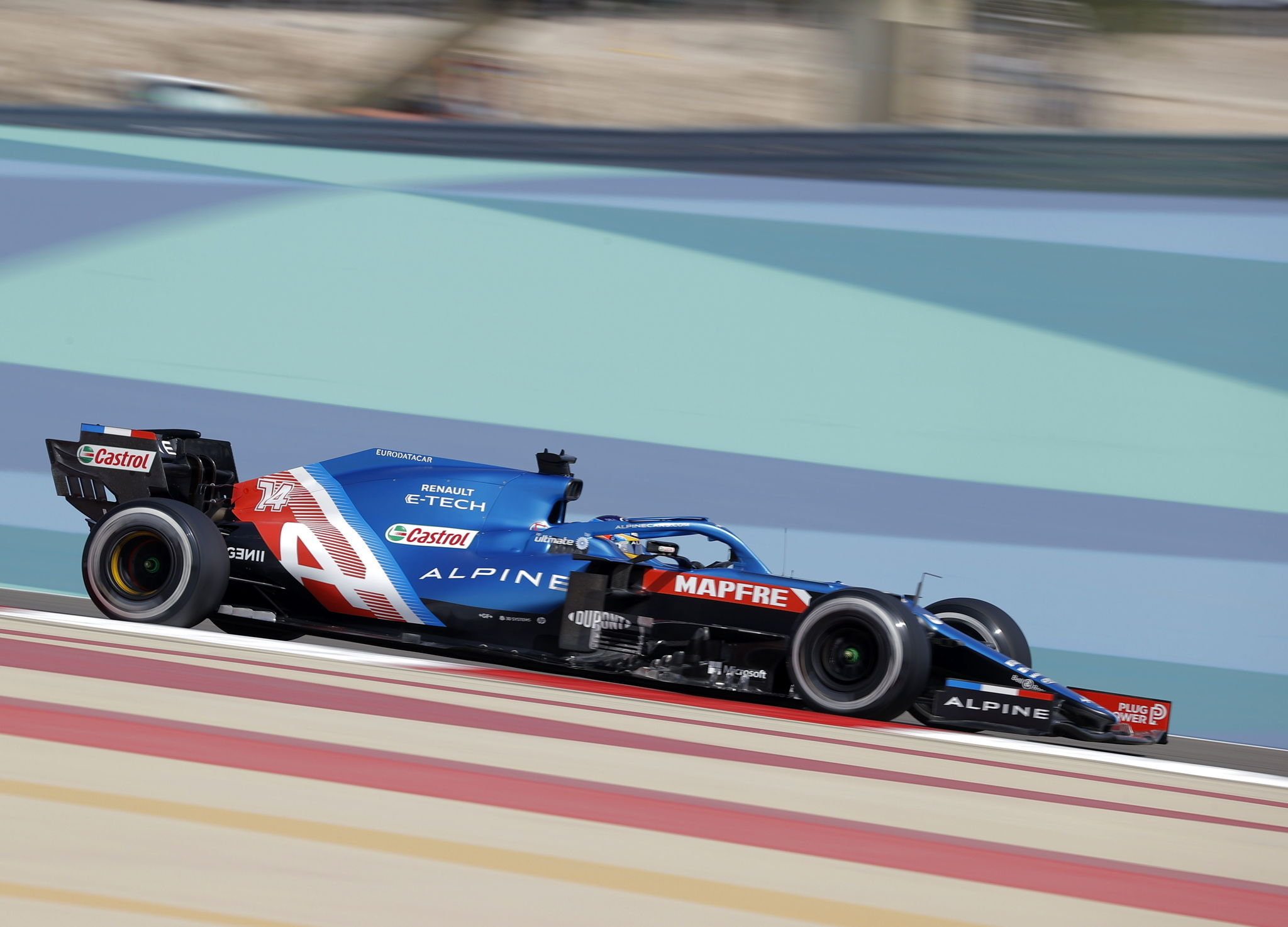 Sakhir (Bahrain), 26/03/2021.- Spanish Formula One driver lt;HIT gt;Fernando lt;/HIT gt; lt;HIT gt;Alonso lt;/HIT gt; of Alpine F1 Team in action during the first practice session of the 2021 Formula One Grand Prix of Bahrain at the Sakhir circuit near Manama, Bahrain, 26 March 2021. The 2021 Bahrain Formula One race will take place on 28 March 2021. (Fórmula Uno, Bahrein) EFE/EPA/VALDRIN XHEMAJ
