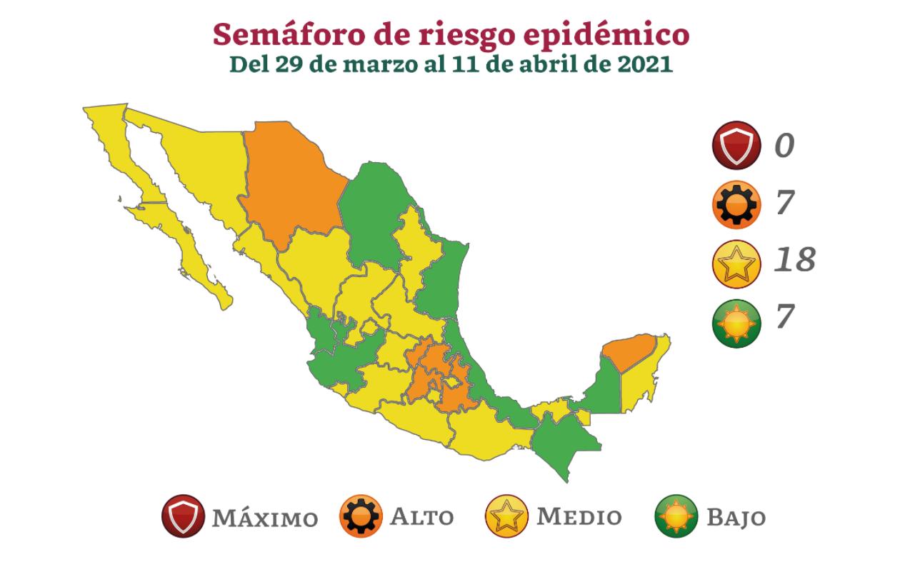 Mapa del semáforo epidemiológico en México hoy