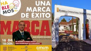 Cartel anunciador del evento en la Marbella International University...