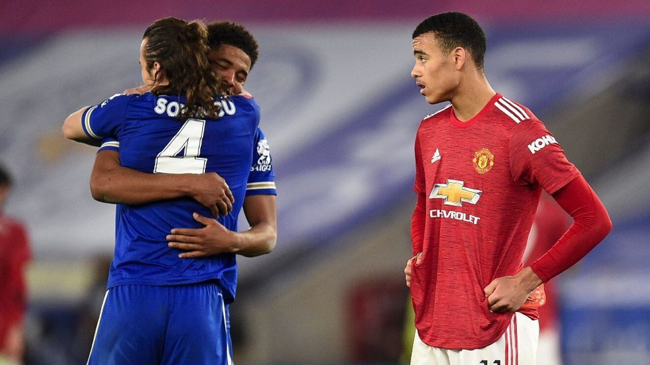 Wesley Fofana and Caglar Soyuncu embrace after Leicester City beat Manchester United in the FA Cup.