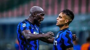 Romelu Lukaku and Lautaro Martinez celebrating a goal together during...