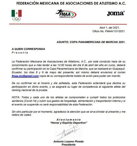 Boletín de la Federación Mexicana de Atletismo