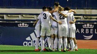 El Marbella celebra uno de los goles de esta temporada.