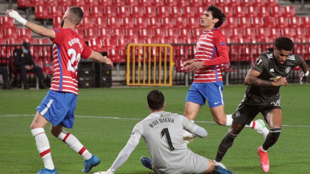 Rashford celebra su gol al Granada.