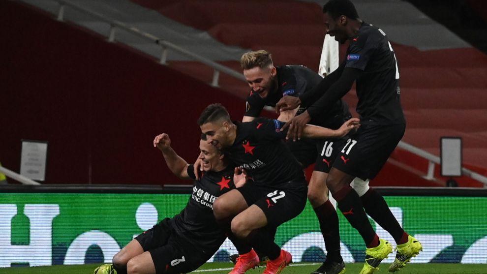Slavia Prague celebrate equaliser