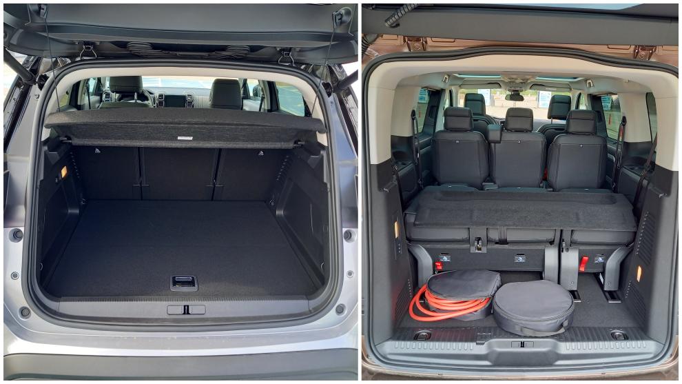 El maletero del C5 Aircross Hybrid (izquierda) tiene 600 litros de capacidad.